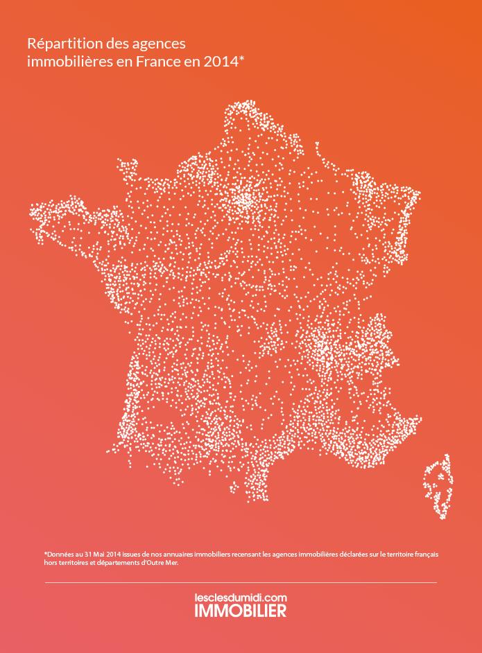 Carte des agences immobilières en France en 2014