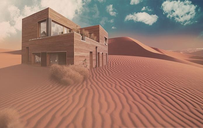 Une maison en bois au coeur du désert
